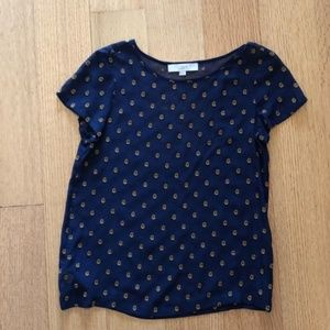 LOFT Navy with Gold Embroidered Flowers Sheer Top